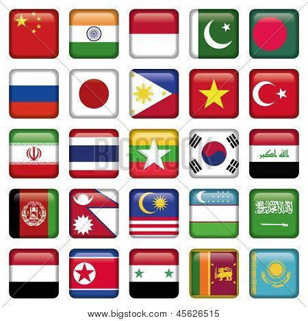 Asia Flags Square Icons