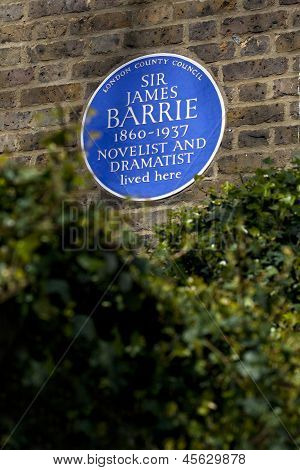 Sir James Barrie Blue Plaque In London