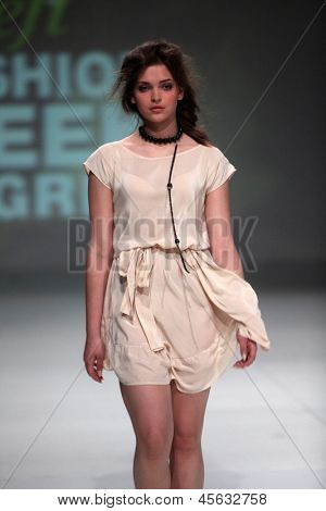 ZAGREB, CROATIA - May 11: Fashion model wears clothes made by Ivana Popovic on