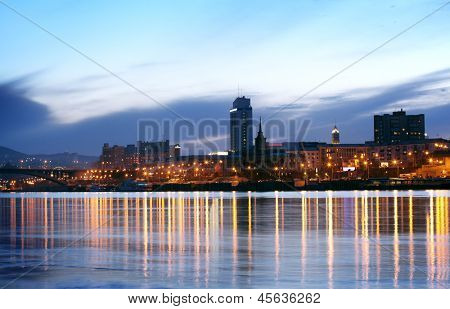 city view in the evening