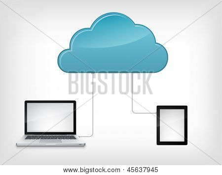 Cloud Service Concept Isolated on grey Gradient  Background. Vector Illustration EPS 10.