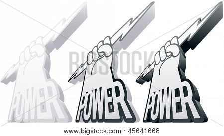 Vector illustration of an abstract symbol in the form of arms and the power word