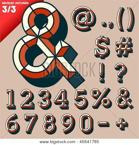 Vector illustration of old school beveled alphabet. Outlined version. Symbols
