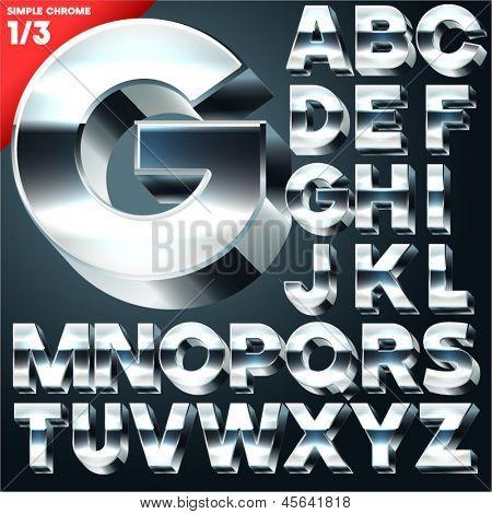 Vector alphabet of simple 3d letters. Sans bold. Upper cases Chrome