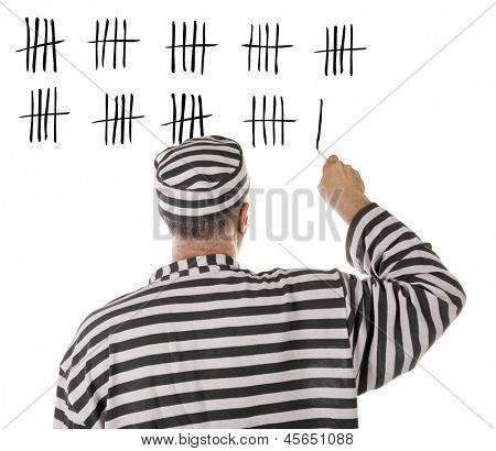 Convict prisoner jailbird is counting days in jail