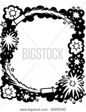 Fireworks Ad Frame - Retro Clip Art Illustration