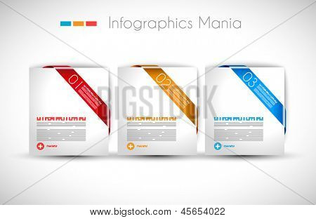 Infographic design template with paper tags. Ideal to display information, ranking and statistics with orginal and modern style.