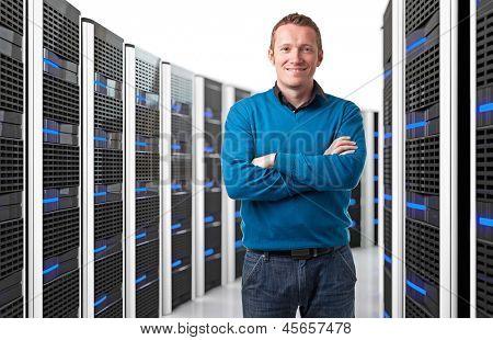 smiling man in data center