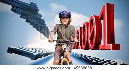 Little boy on a bike with binary code in red and blue in the sky