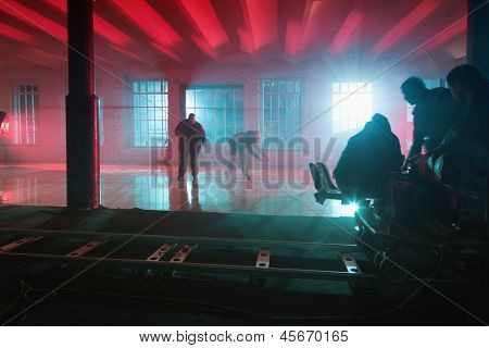 MOSCOW - OCT 23: Motion blur staff on the set of the video singer Rene, on October 23, 2010 in Moscow, Russia.