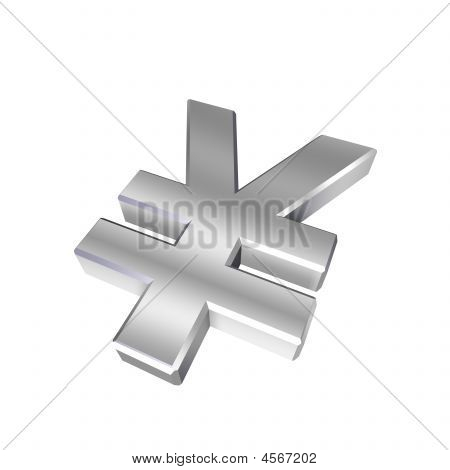 Chrome Yen Sign Isolated On White