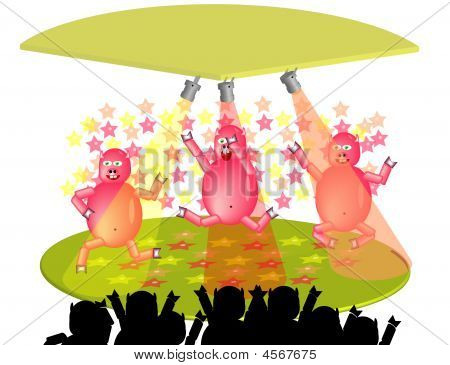 3 Dancing funy celebrate party pigs. Illustration poster