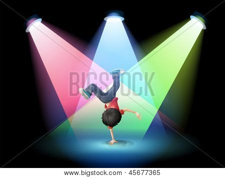 Illustration of a boy breakdancing at the stage with spotlights