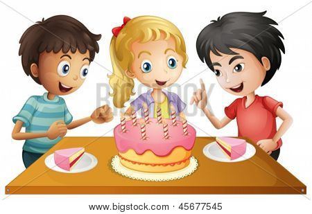 Illustration of a table with cake surrounded by three kids on a white background