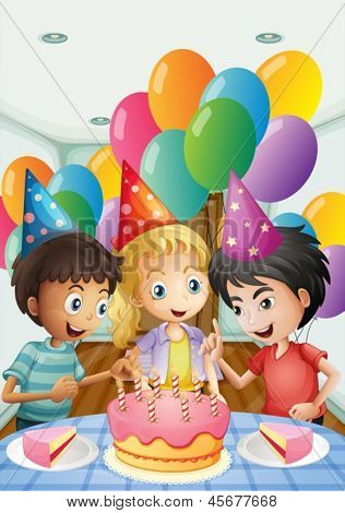 Illustration of the three kids celebrating a birthday on a white background