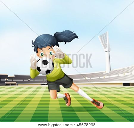 Illustration of the female player catching the soccer ball