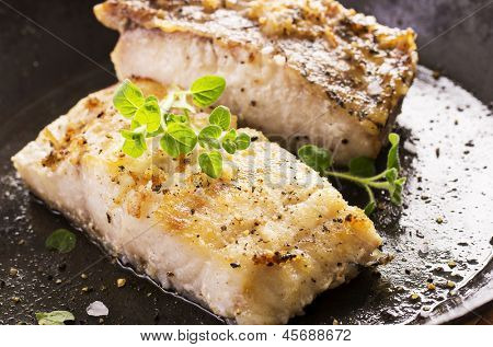 grouper fillet fried with herbs poster