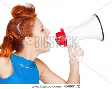shouting woman with megaphone