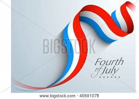 American Independence Day concept with waving banner in flag color on grey background with text Fourth of July.