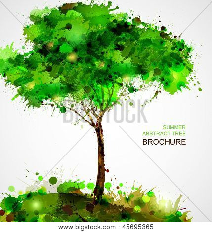 Green abstract tree forming by blots