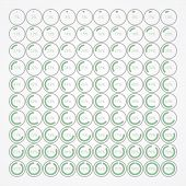 set of infographic percentage bubbles, circles indicators to show the quantity of something left. poster