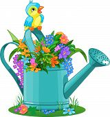 Watering can with bouquet of wild flowers poster