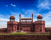 India travel tourism background - Red Fort (Lal Qila) Delhi - World Heritage Site. Delhi, India poster