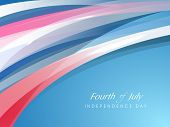Fourth of July, American Independence Day concept with shiny waves and text Fourth of July. poster