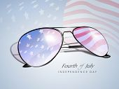 Waving American Flag reflecting in a sun glasses, Fourth of July independence Day concept. poster