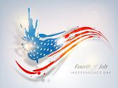 Fourth of July, American Independence Day concept with blue silhouette of Statue of Liberty and flag colors. poster