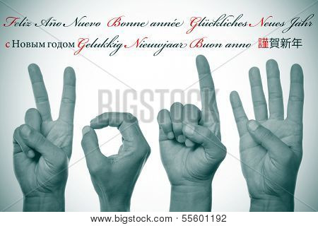 sentence happy new year written in different languages, such as spanish, french, german, russian, dutch, italian and japanese, and hands forming number 2014