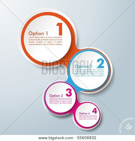 Infographik Design farbige Ketten weiße Kreise 4 Optionen