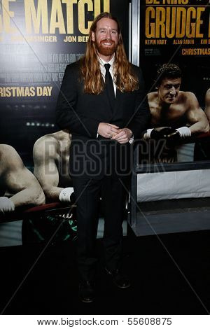 """NEW YORK-DEC 16: Patrick Barry attends the world premiere of """"Grudge Match"""" at the Ziegfeld Theatre on December 16, 2013 in New York City."""