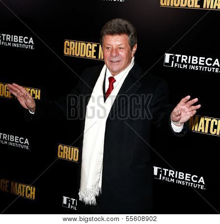 """NEW YORK-DEC 16: Singer Frankie Avalon attends the world premiere of """"Grudge Match"""" at the Ziegfeld Theatre on December 16, 2013 in New York City."""
