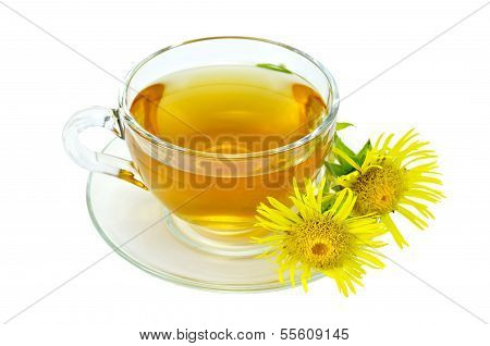 Herbal Tea With Elecampane In A Glass Cup
