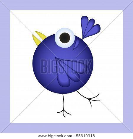 Dancing Cartoon Bird. Vector Illustration