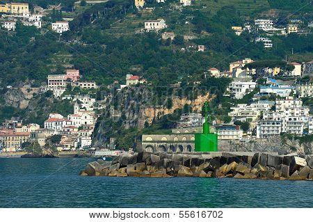 Seamark On Entrance To The Port Of Salerno, Campania, Italy