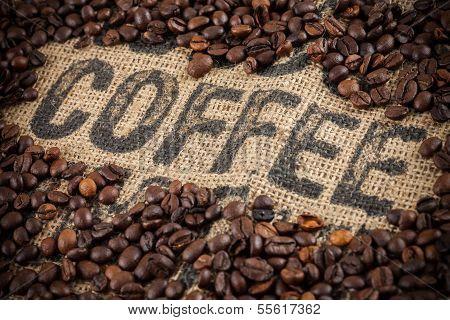 Coffee inscription, coffee beans