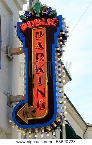 Neon Public Parking Sign