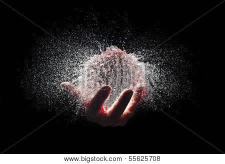 water explosion in human hand poster