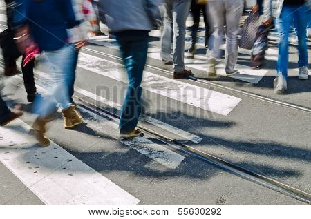 Pedestrians on zebra crossing