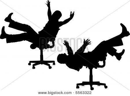 funny people on chair silhouette vector