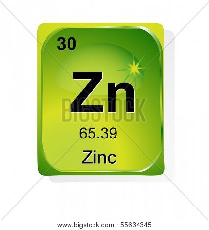 Zinc chemical element with atomic number, symbol and weight