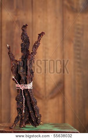 jerky beef - homemade dry cured spiced meat poster