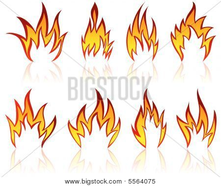 Set of different fire patterns for design use poster