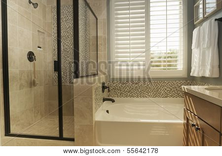 White shutters in bathroom window.