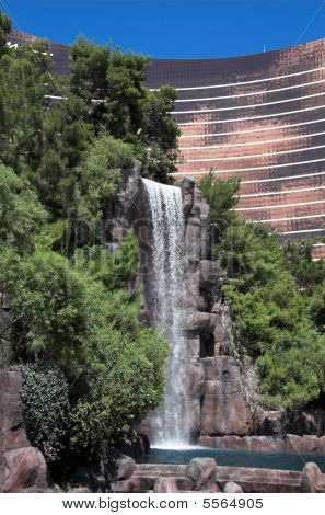 photo of waterfall outside the Las Vegas Wynn hotel and casino poster