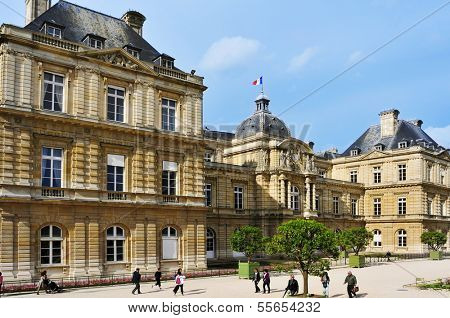 PARIS, FRANCE- MAY 15: Luxembourg Palace in Jardin du Luxembourg on May 15, 2013 in Paris, France. With 224,500 square meters, this is the second largest public park in Paris