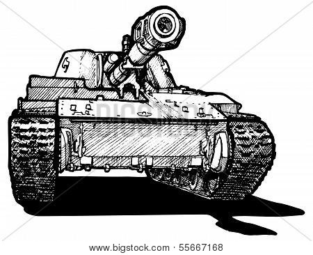 Vector drawing of heavy tank stylized as engraving. poster