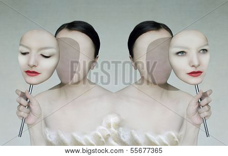 Surreal portrait of two women faceless with her face masks poster